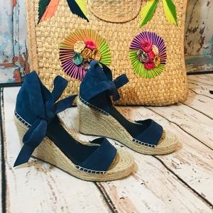 Marc Fisher Kaee ankle wrap blue suede espadrilles